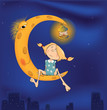 The girl and the moon cartoon