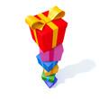 Bunte Geschenkkartons Stapel - 3D Illustration