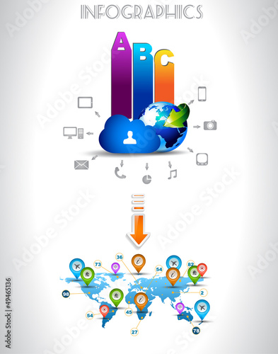 Infogarphics elements: technology and Clouds