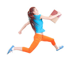 running student girl with books, full length