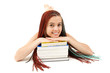 student girl with african braids resting on stack of books