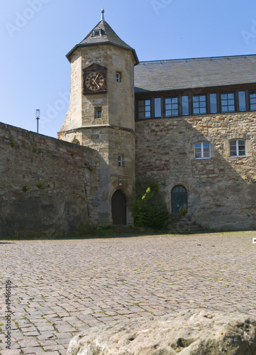 Castle Waldeck near Edersee with clock tower, Germany