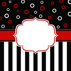 Greeting card with stripes and circles