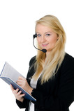 callcenter-mitarbeiterin organisiert termine
