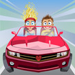 Cartoon crazy boy and girl riding in a car at high speed