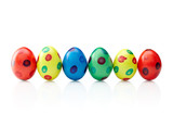 A row of spotted easter eggs, isolated