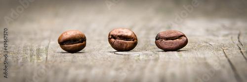 Leinwandbild Motiv 3 kaffeebohnen banner