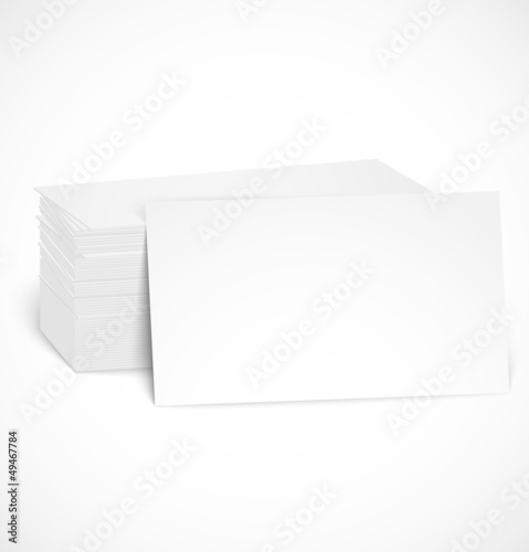 Pile of business cards with shadow template