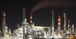 Oil refinery at night - factory - petrochemical plant
