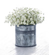 Bouquet of white gypsophila on wooden background