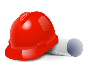 Red safety hard hat and drawings. Vector illustration