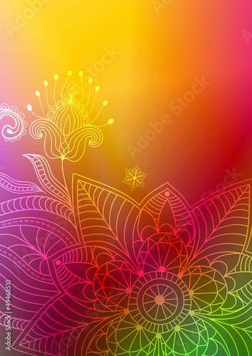 Colorful floral frame