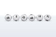 Loto. Boules blanches alignées