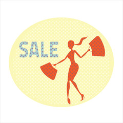 Sale banner with beautiful woman carrying bags
