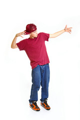 Portrait of cool young breakdancer posing isolated on white back