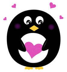Cute Penguin holding pink heart isolated on white