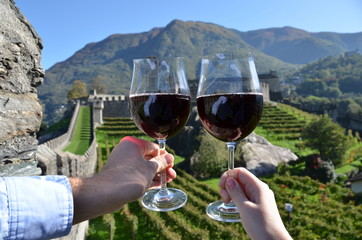 Pair of wineglasses. Bellinzona, Switzerland