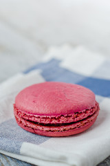 Pink french macaron with raspberry filling