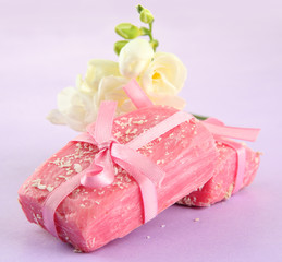 Natural handmade soap, on purple background