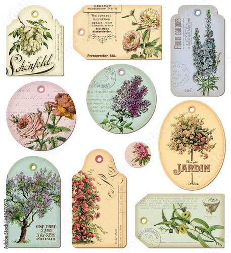 vintage tags: flowers