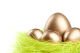 Golden eggs are in the nest of sisal filler, isolated on white poster