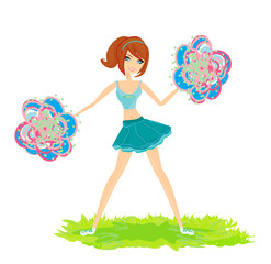 beautiful cheerleader vector illustration