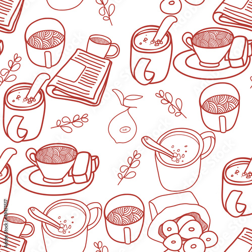 Seamless coffee tea and sweets pattern