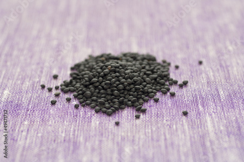 Close-up view of a heap of Organic black Beluga Lentils