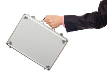 Silver metal briefcase in hand