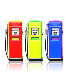 Red yellow and blue gasoline fuel pump with clipping path .