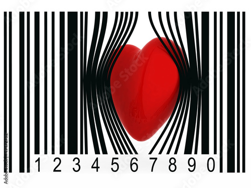 heart that gets out from a bar code