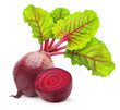 Isolated beetroot. One fresh red beet with leaves and a half isolated on white background - 49472993