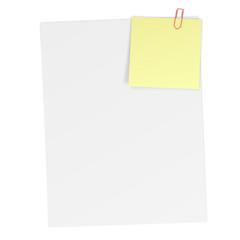 Blatt Papier mit angeheftetem Notizzettel