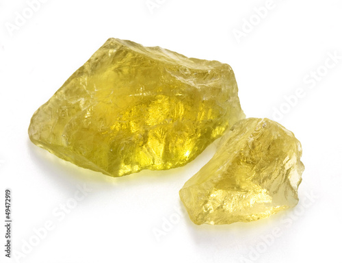 Rough Citrine Gems Isolated on White Background