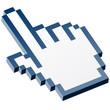 3D Pixelgrafik Hand - Zeigefinger blau