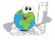 drawing An Earth globe as the world on your laptop computer keyb