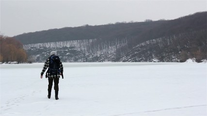 Tourists travel in winter