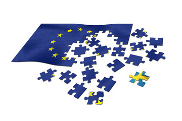 EU flag as puzzle with Swedish flag as a distant piece.