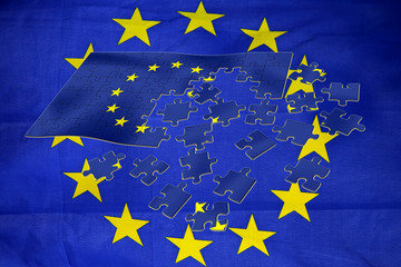 EU flag and european puzzle. Europe.
