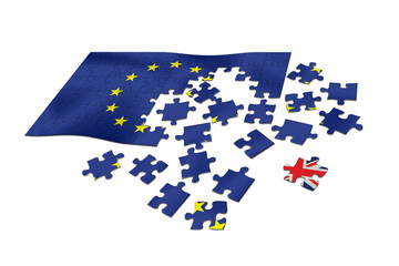 EU flag as puzzle with United Kingdom flag Union Jack