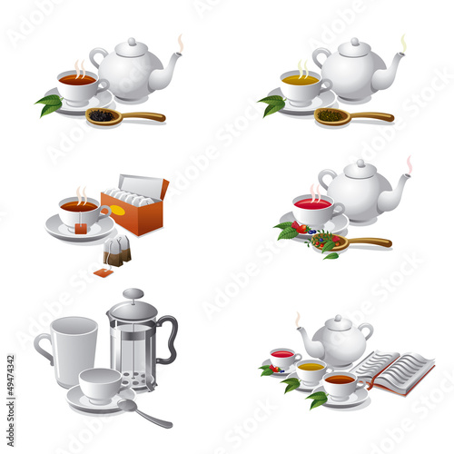 set of tea web icons
