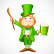 Leprechaun with beer mug wishing Saint Patrick's day