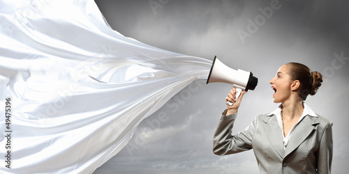 businesswoman with megaphone