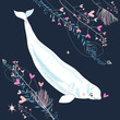 love white whale on a dark blue background with plants