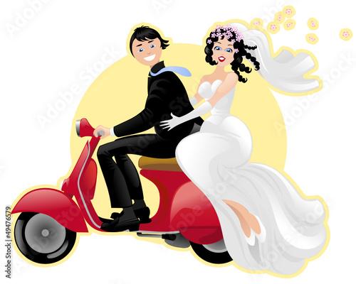 Matrimonio In Vespa : Vettoriale sposi in vespa