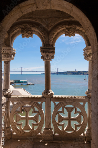 Tagus river seen through a balcony of Belem tower. Lisboa