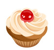 Cupcake with cream and cherry. Vector illustration.