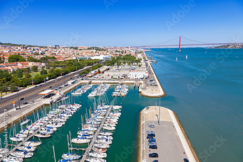Docks on the banks of River Tagus, Lisbon, Portugal