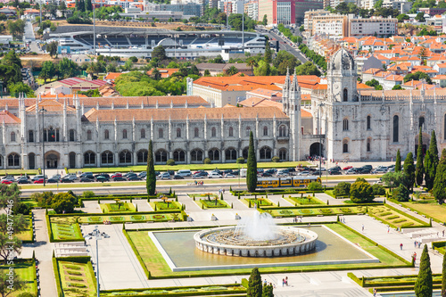 Bird view of Mosteiro dos Jeronimos in Lisbon, Portugal. UNESCO