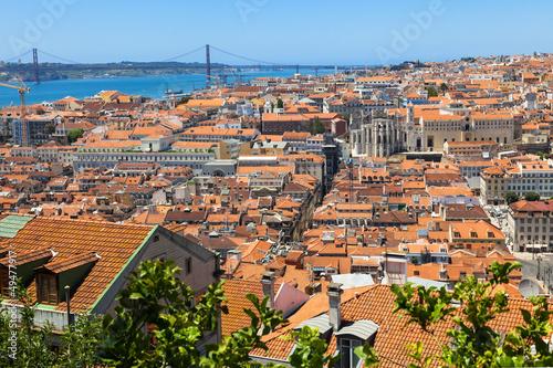 Bird view of Lisboa downtown: Baixa, Rossio and Chiado